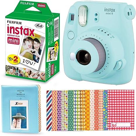 Fujifilm Instax Mini 9 Cámara instantánea (azul hielo) + Fuji ...