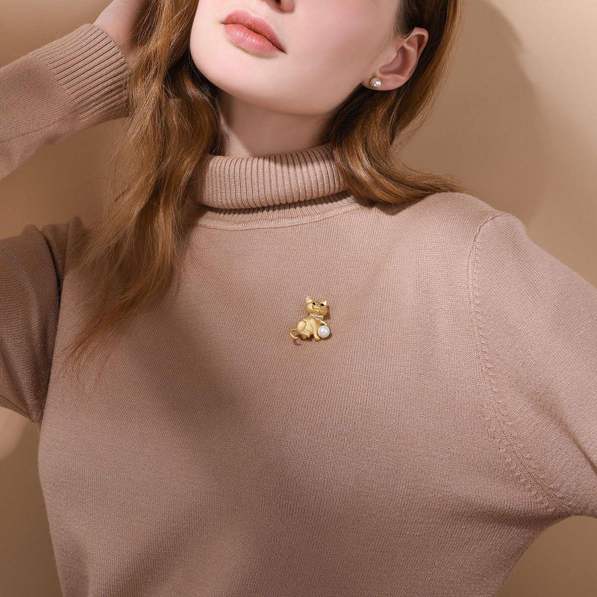 FOCALOOK Broche Femme Pins Bijoux Brooch Animal Plaqu/é Or Jaune 18K avec Strass Brillant et Perle dImitation Blanche Accessoire de V/êtement