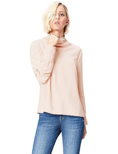 FIND FIND Blusa de Cuello Alto para Mujer, Blusa Mujer, Beige (Smoke Pink