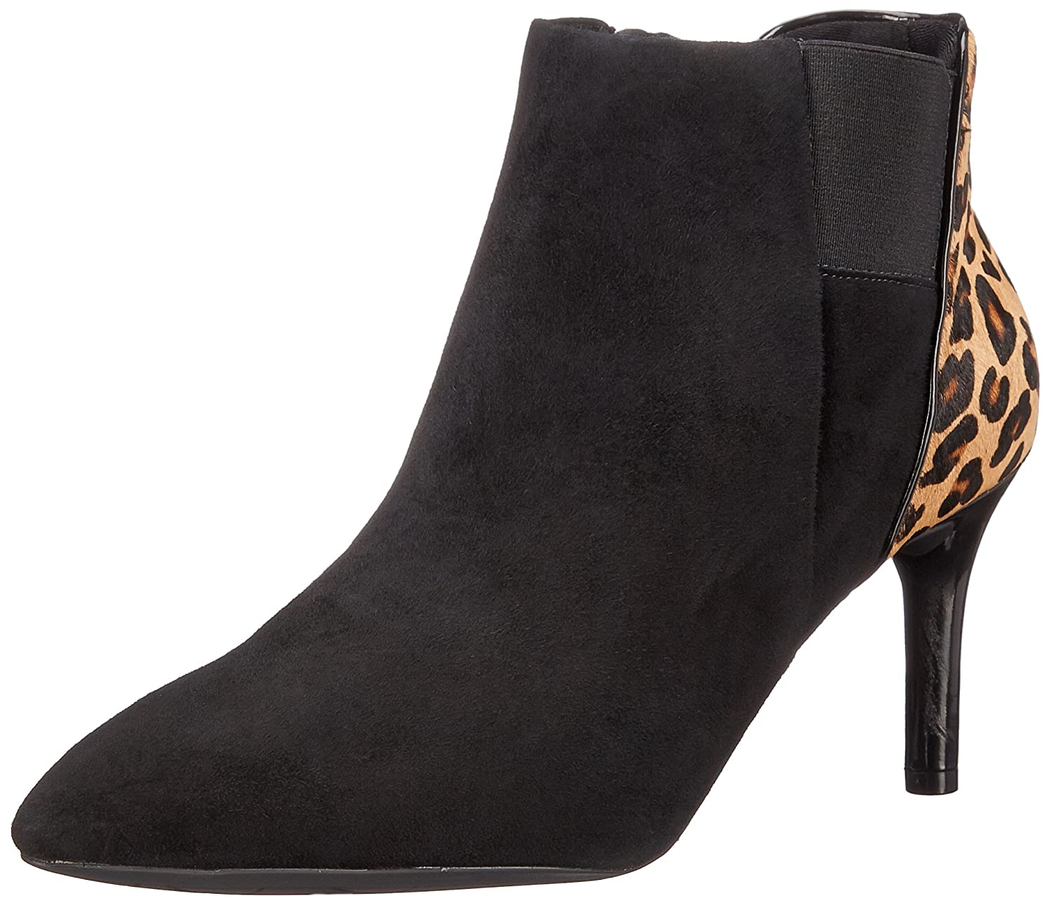 Rockport Women's Total Motion 75mm Layer Boot B00T5L4A1A 5 B(M) US|Black Kid Suede/Leopard Hair on
