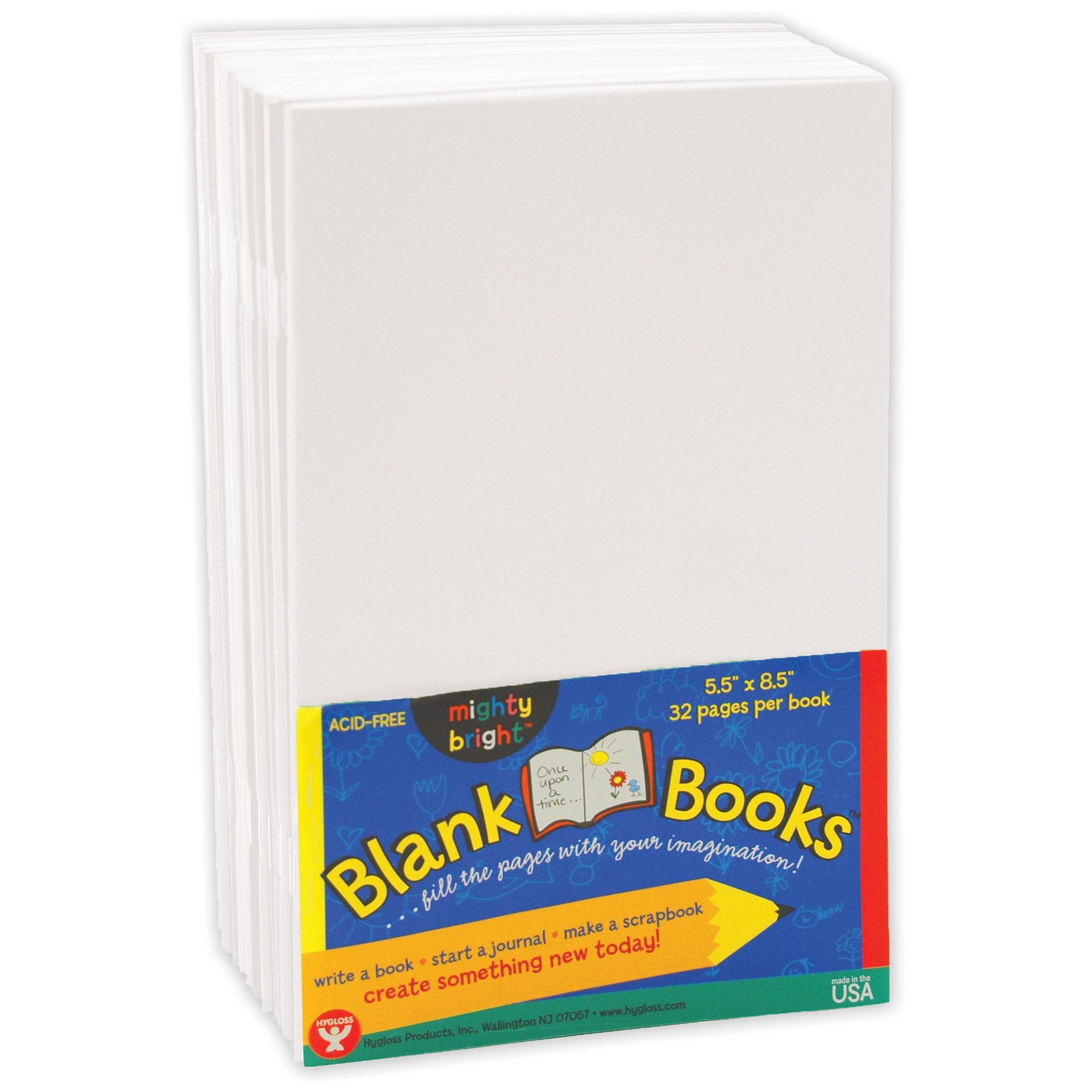 Hygloss Products HYG77721 Mighty Brights Paperback Books, Grade 4'' Height, 5Wide, 8.5'' Length, White (Pack of 20)