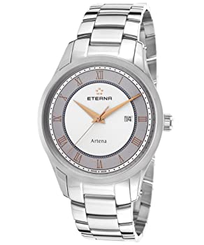 Eterna 2520-41-56-0274 Men's Artena Stainless Steel White and Grey Dial