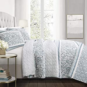 Lush Decor, Blue Nisha 3 Piece Quilt Set, King