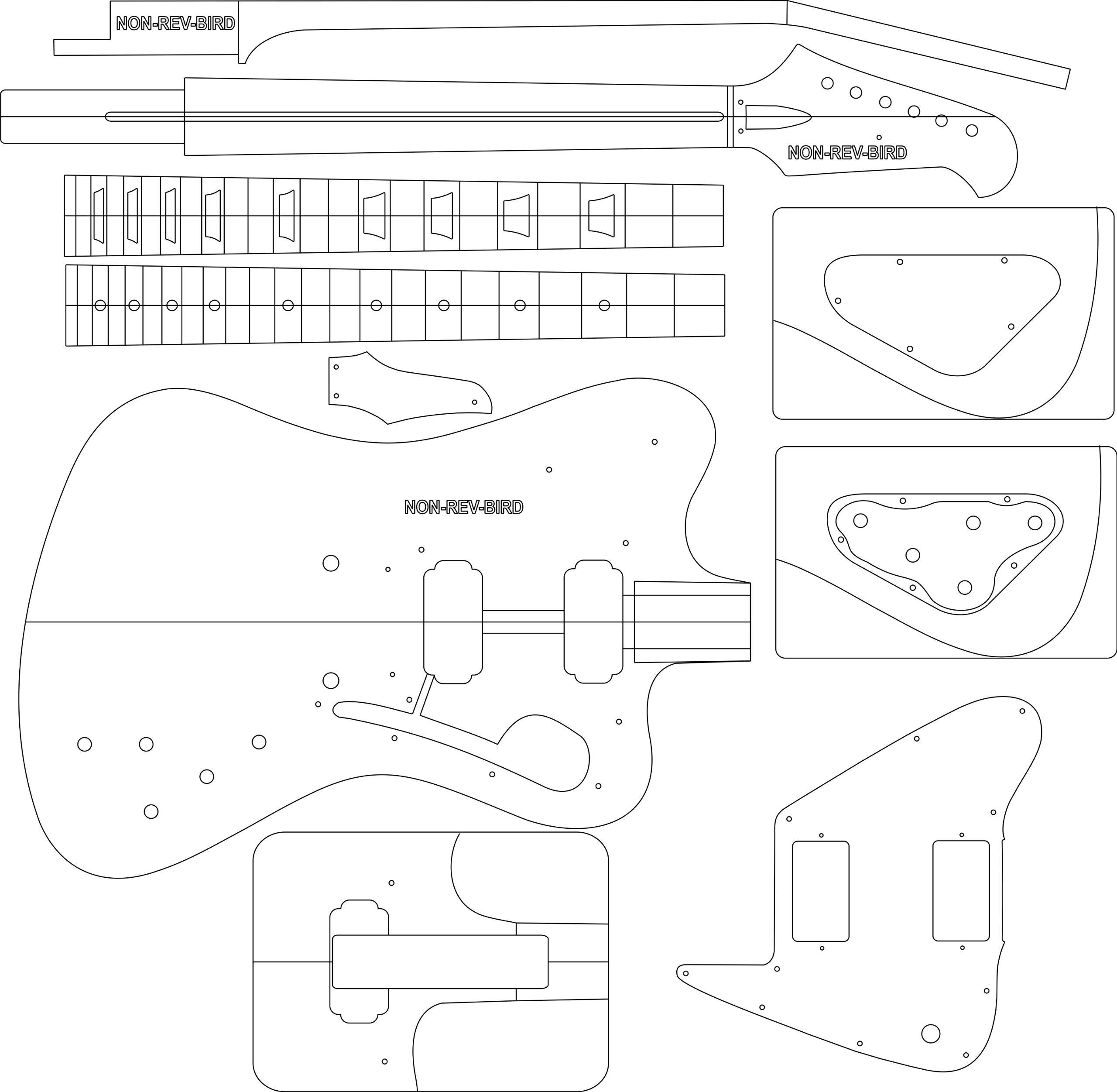 Electric Guitar Layout Template - NON REV FBIRD HUM