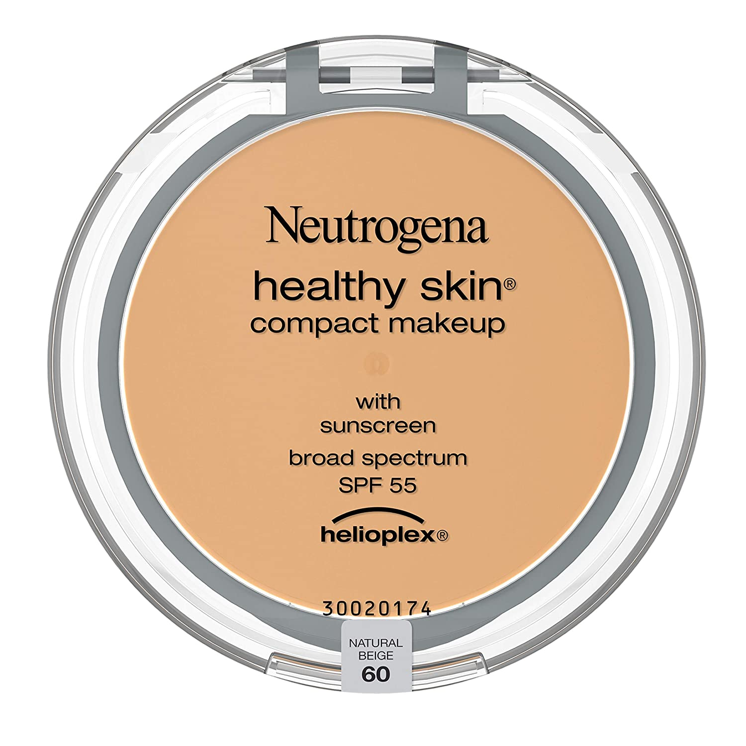 Neutrogena Healthy Skin Compact Lightweight Cream Foundation Makeup with Vitamin E Antioxidants, Non-Greasy Foundation with Broad Spectrum SPF 55, Natural Beige 60, .35 oz : Beauty