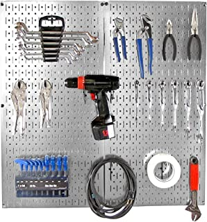 product image for Wall Control Pegboard 32in x 32in Metal Pegboard Organizer Starter Kit Galvanized Tool Board