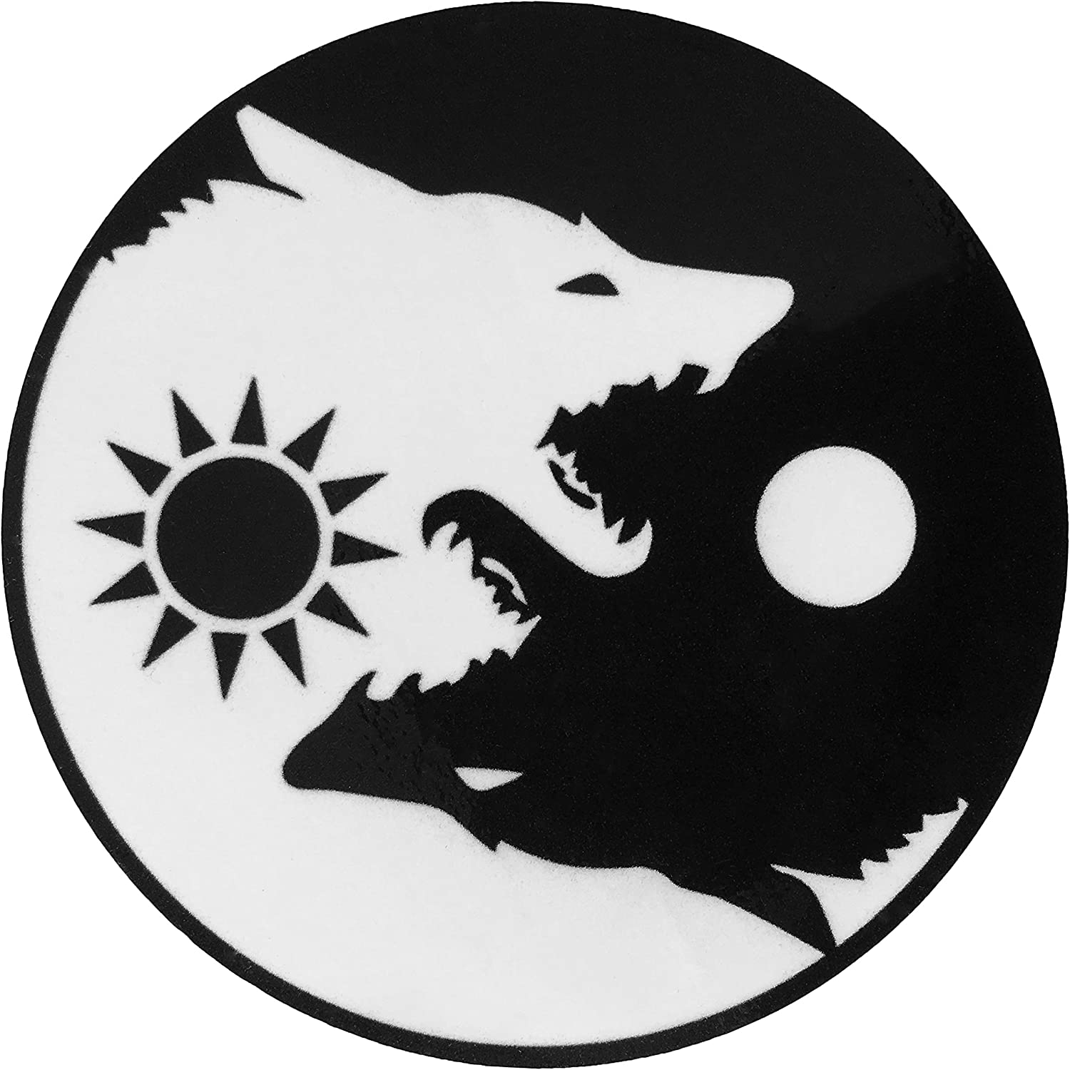 Papapatch Wolf Yin Yang Sun Moon Day and Night Kung Fu Chinese Tao Balance Sign Fox Vinyl Window Laptop Wall Decor Decal Sticker (STK-Wolf-YIN-YANG)