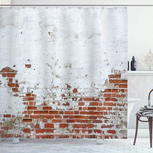 Amazon Com Ambesonne Brick Wall Shower Curtain Dated Damaged Peeling Wall Covered With White Paint Vintage Inspired City Decay Scene Cloth Fabric Bathroom Decor Set With Hooks 75 Long Red Home Kitchen,Pink Pinterest Baby Shower Decorations