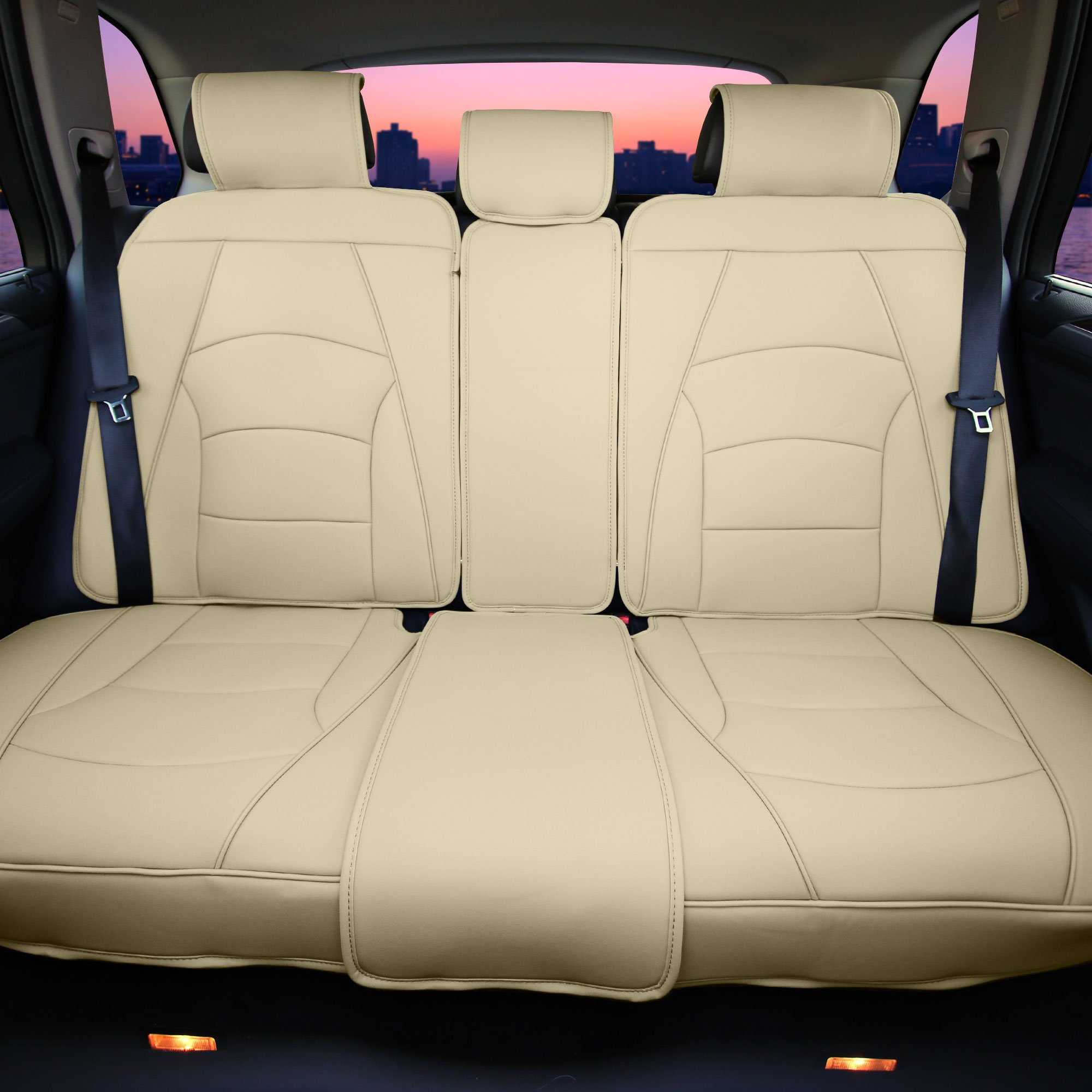 FH Group PU205013SOLIDBEIGE Bench PU205SOLIDBEIGE013 Ultra Comfort Leatherette Rear Seat Cushions Solid Beige