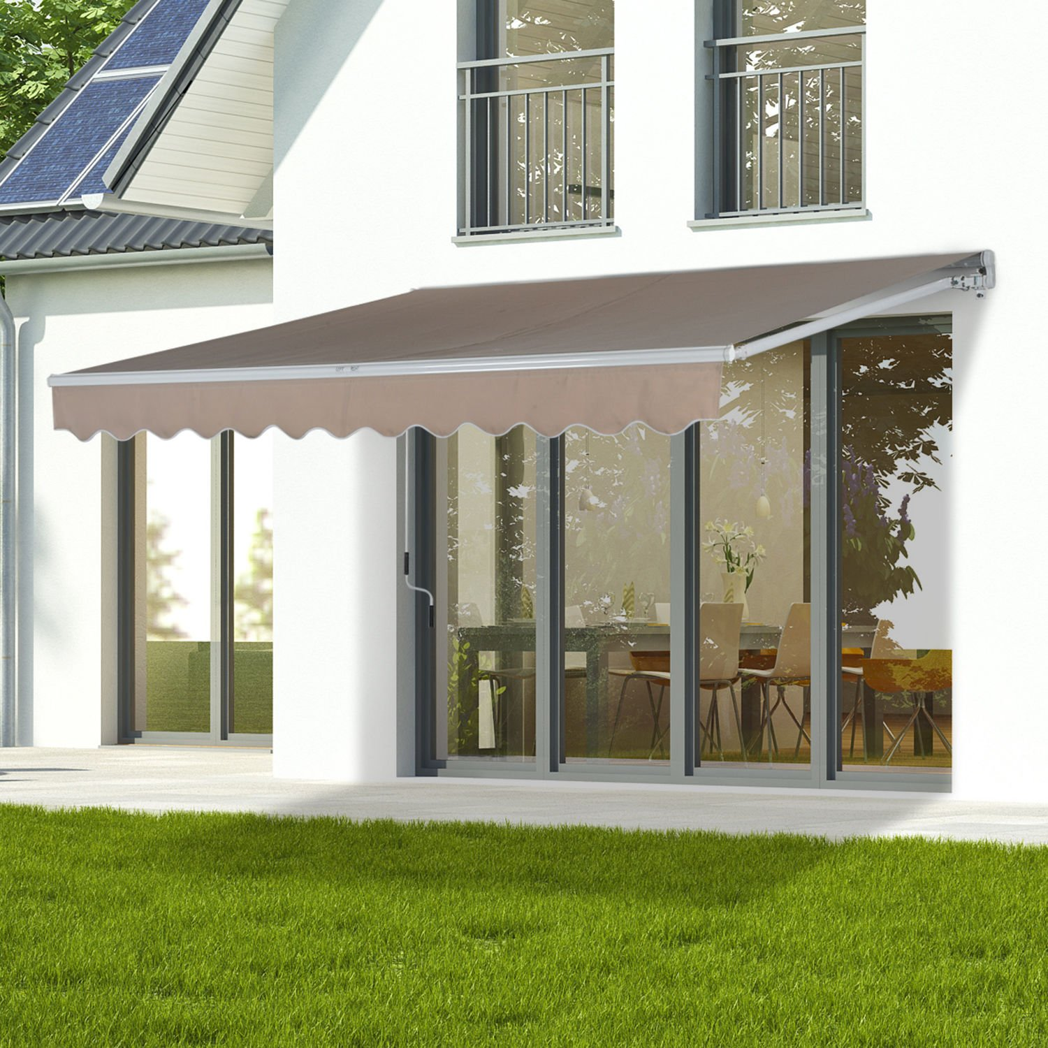 Creamy 13 x8 Manual Awning Canopy Patio Deck Retractable Sun Shade Shelter