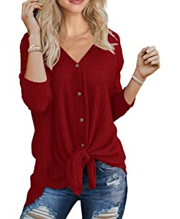 3e63852db21 IWOLLENCE Womens Waffle Knit Tunic Blouse Tie Knot Henley Tops Loose  Fitting Bat Wing Plain Shirts