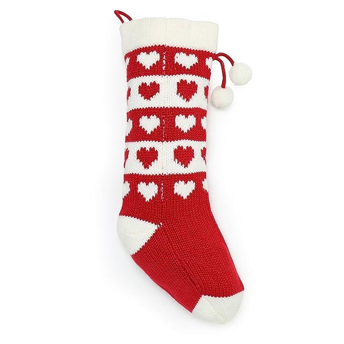 Christmas Shop Strick Christmas Strumpf mit Herz Muster ...