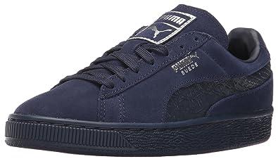 PUMA Suede Classic Mono Reptile-U Fashion Sneaker, Peacoat Silver, 4.5 M US