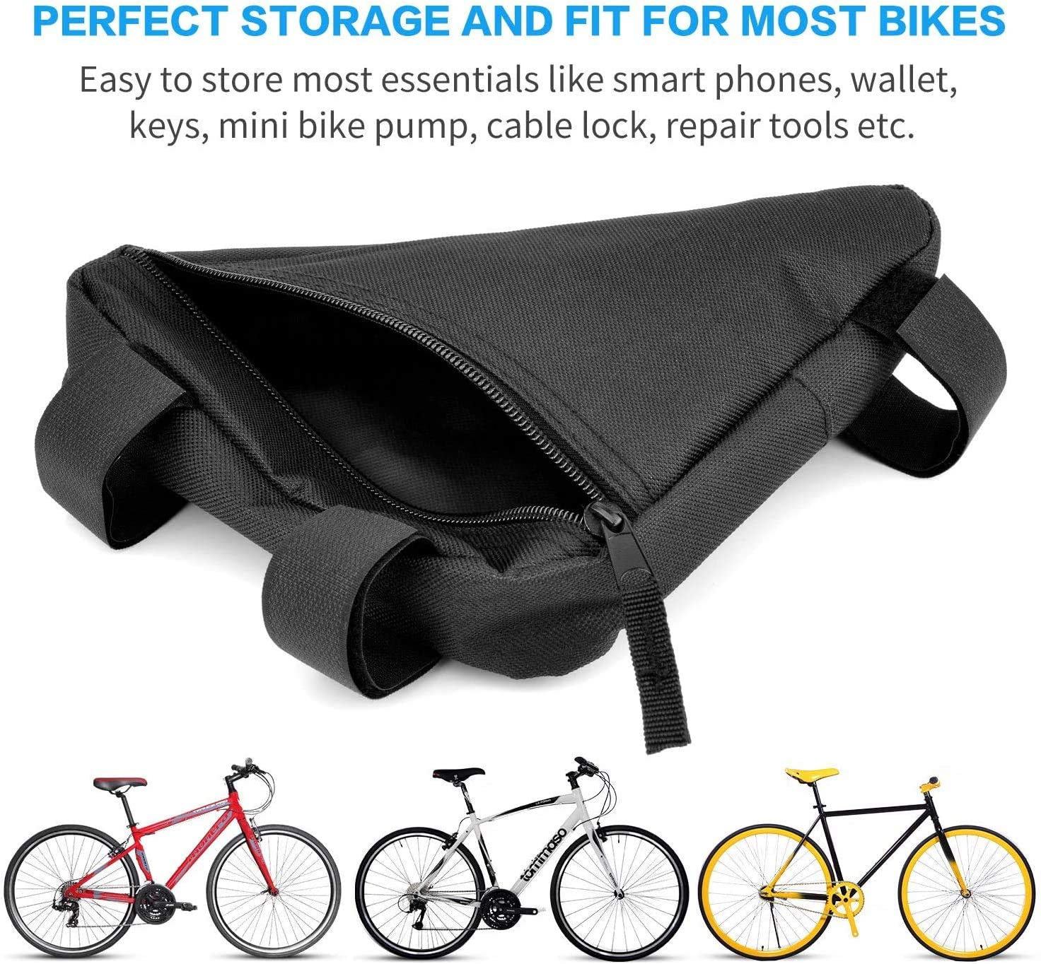 Bike Bicycle Storage Top Tube Bag Pack Triangle Pouch Road Mountain Cycling Strap Saddle Bag WELTOP Bike Triangle Frame Bag