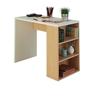 f48b6257447 Escritorio con estantería de melamina de 100 cm de ancho y nogal, Samblo  Midori, color blanco y nogal, madera contrachapada: Amazon.es: Hogar