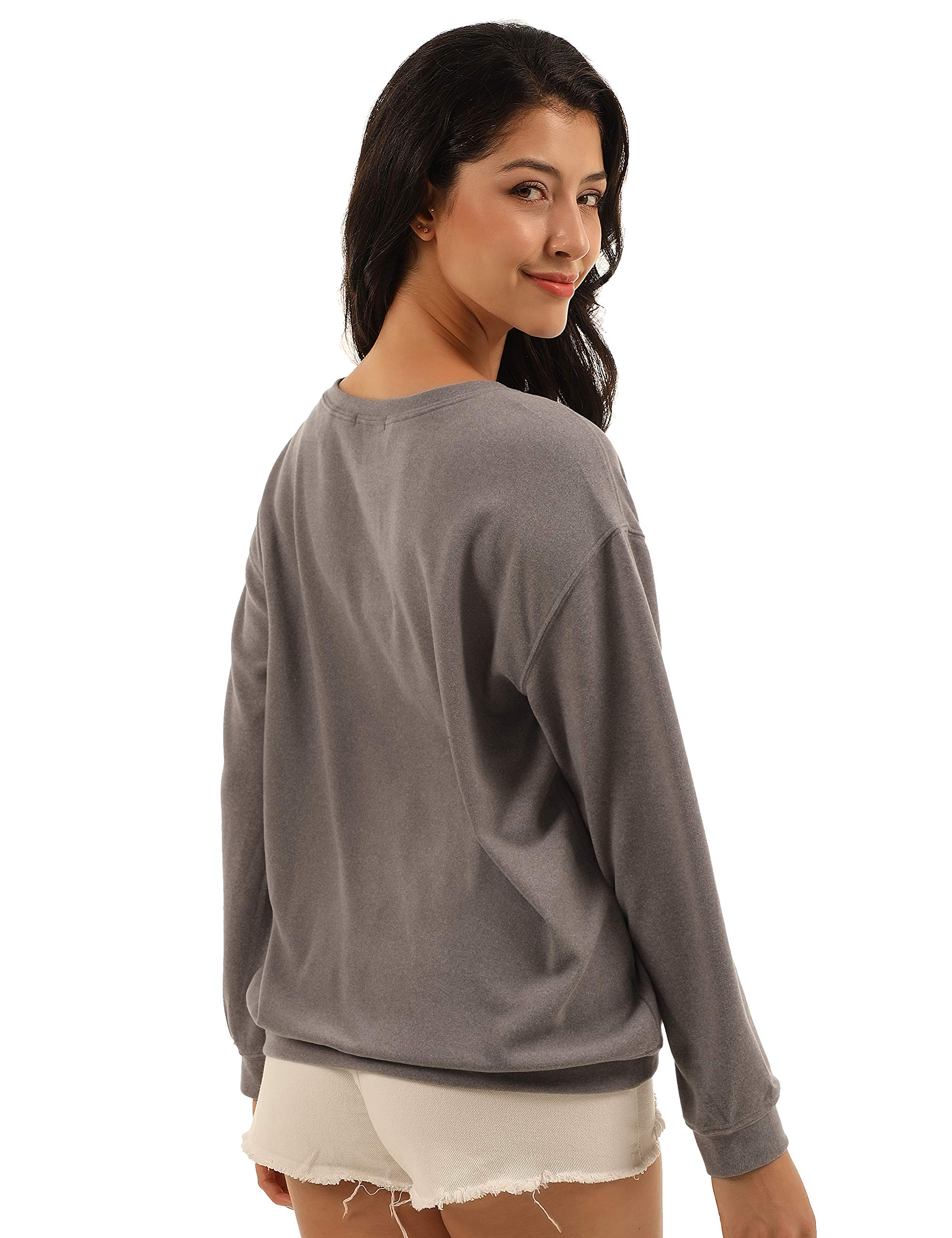 Blooming Jelly Womens Letter Print Jumper Round Neck Sweatshirt Long Sleeve Pullover Casual Tops(Grey,S=UK 6-8)