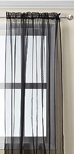 Editex Home Textiles Monique Sheer Window Panel, 55 by 63-Inch, Black