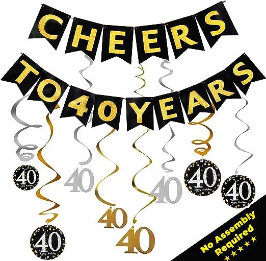 Amazon.com: Decoración para 40 cumpleaños para hombres y ...