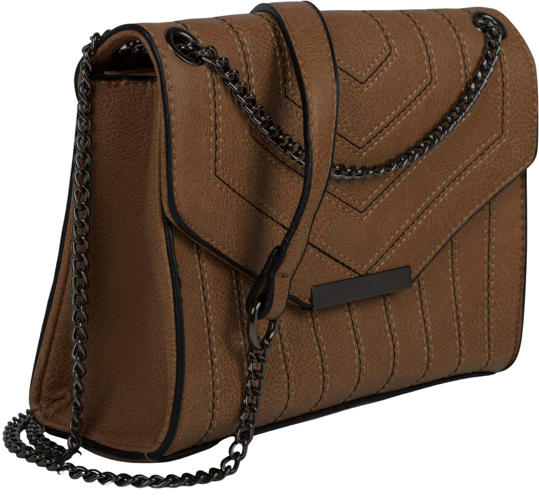 styleBREAKER damväska med färg kontrasterande stift, axelväska, handväska, väska 02012308 BRUN