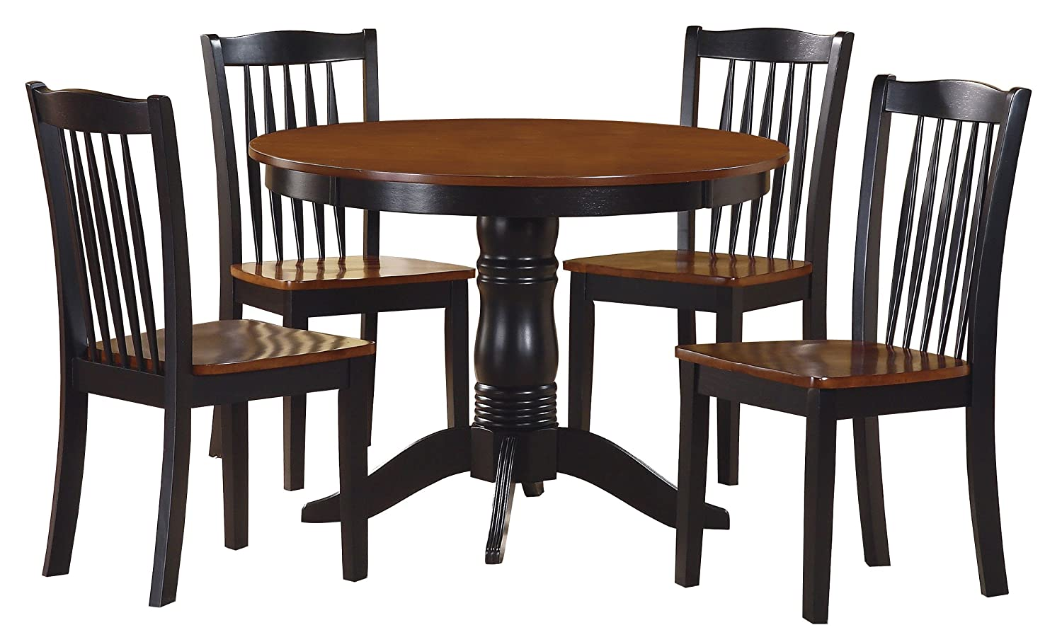 Amazon.com: Homelegance Andover Two Tone 5 Piece Counter Height Round Dining  Set With Pedestal Base, Black: Kitchen U0026 Dining