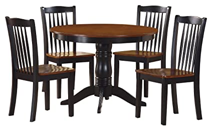 Homelegance Andover Two Tone 5 Piece Counter Height Round Dining Set With  Pedestal Base