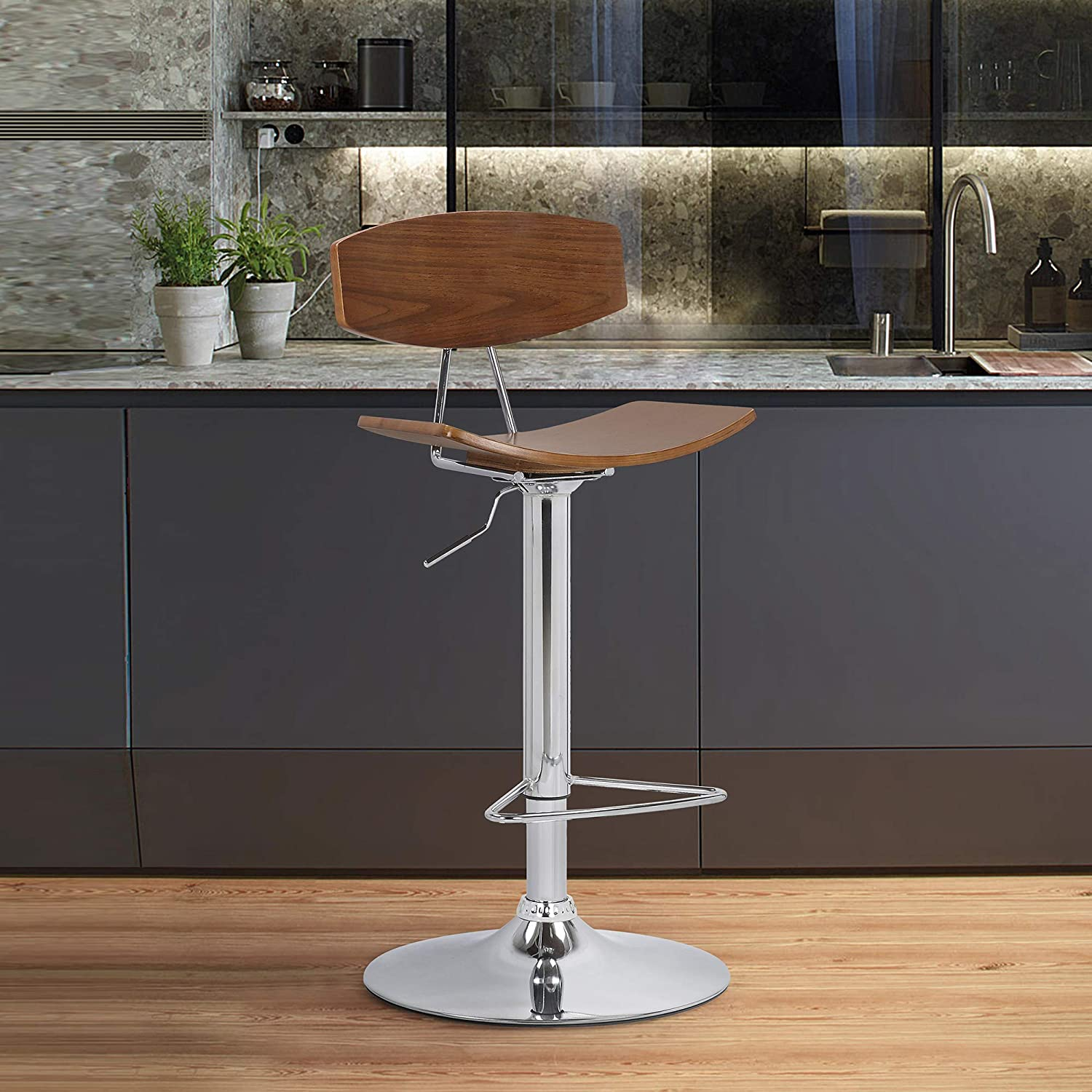 Armen Living Jett Adjustable Walnut and Chrome Adjustable Bar and Counter Height Stool, Adjustable heigh