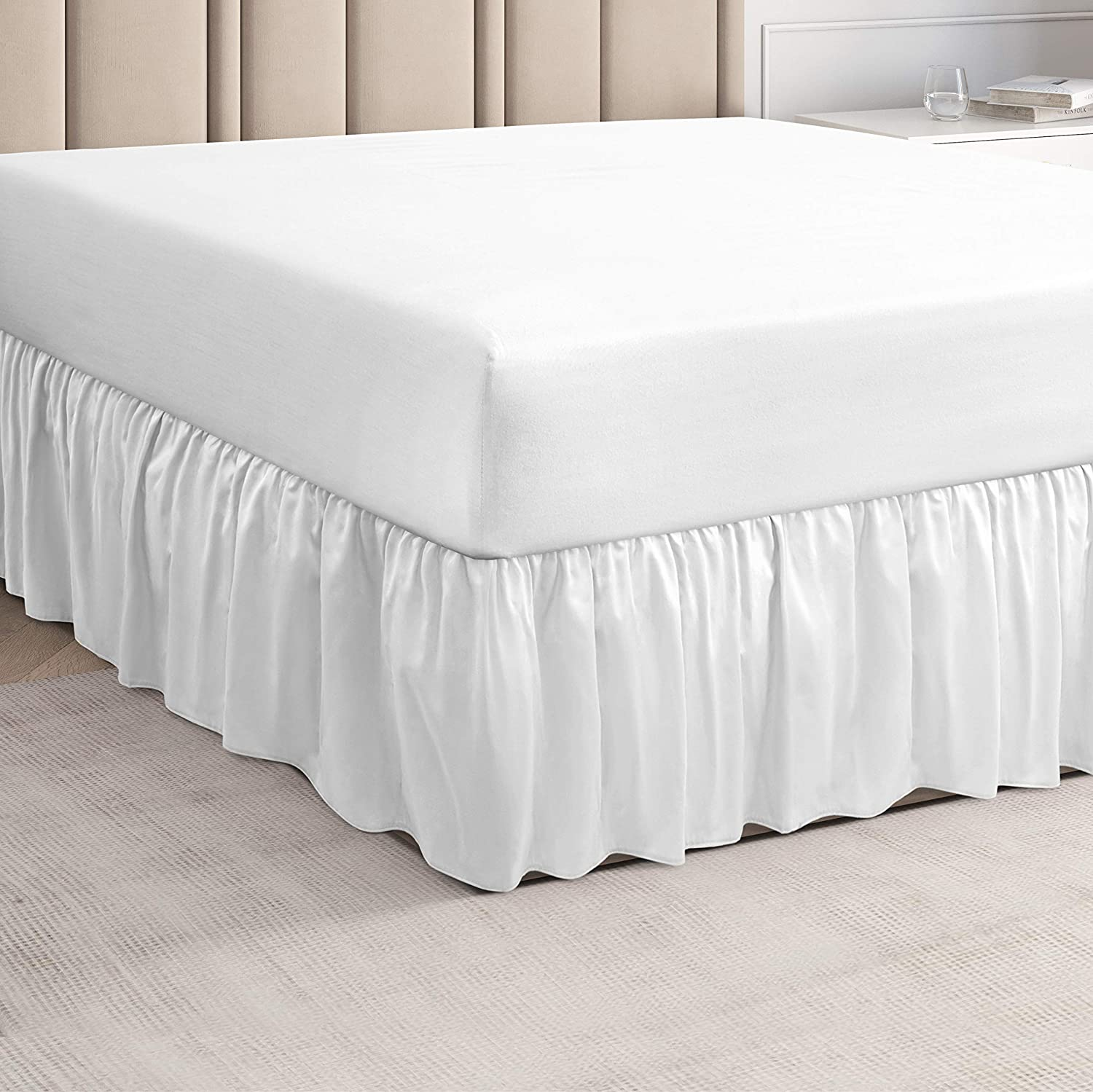 CGK Unlimited - Ruffled White Queen Bed Skirt – Hotel-Quality Ruffles for Queen Beds with 14 in. Drop – Under-The-Mattress Queen Bedskirt for Easy Fitting with Brushed Fabric