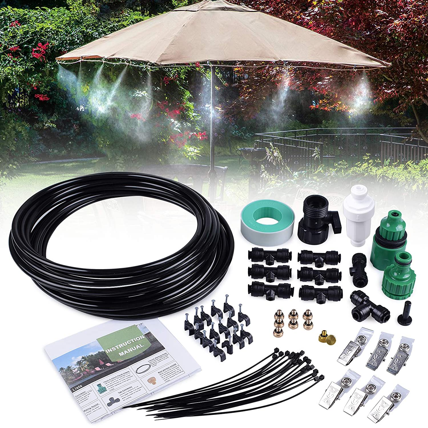 MIXC 26.2FT Outdoor Mist Cooling System Fan Misting Kit Animal Plants Swimming Pool Cooler with 1/4inch Tube Hose Pipe 7 Brass Metal Nozzles Jets Misters for Patio Garden Home Irrigation