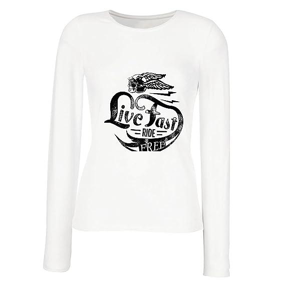 lepni.me Camisetas de Manga Larga Para Mujer Live Fast Die Free - Ropa de Ciclista Clásica, Equipamiento de Moto, Refranes de Moto: Amazon.es: Ropa y ...