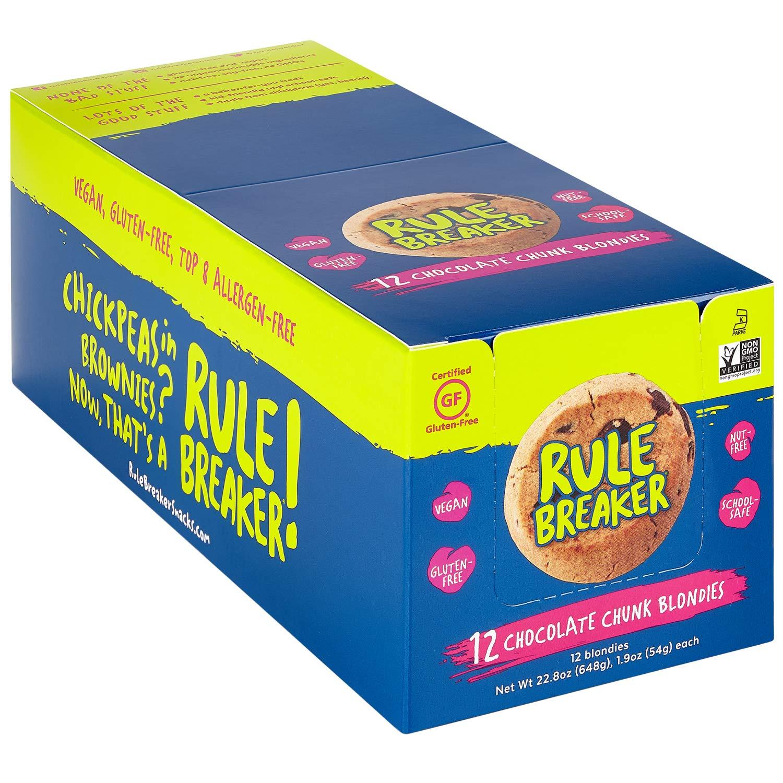 Rule Breaker Snacks, Chocolate Chunk Blondie, Vegan, Gluten Free, Nut Free, Allergy Friendly, Kosher, Individually Wrapped 1.9oz Cookies (12 Blondies)
