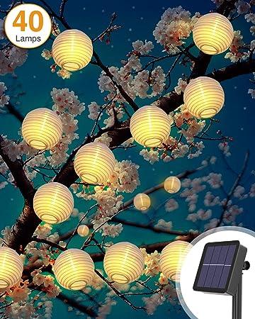 Litogo Farolillos Solares Exterior, 6M 40 LED Guirnalda Exterior Solar, Luces Decorativas Exterior Guirnalda Luces Exteriores Linternas Farolillos Decorativos Solares para Decoración Jardines: Amazon.es: Bricolaje y herramientas
