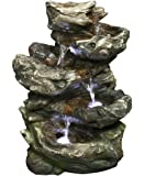 Hi-Line Gift Ltd 4 Levels Log Waterfall Fountain, Includes Underwater Led Light and pump.