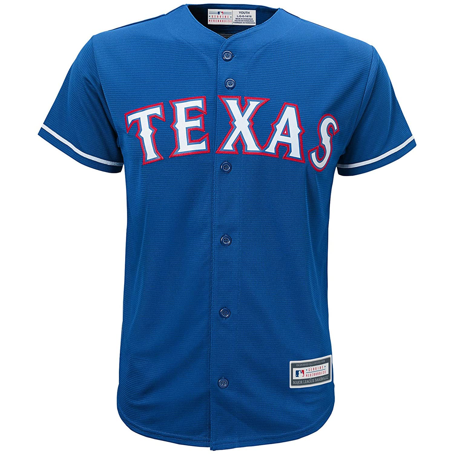 ca22d4e48 Amazon.com  OuterStuff Texas Rangers Word Mark Blue Youth Cool Base  Alternate Replica Jersey  Clothing