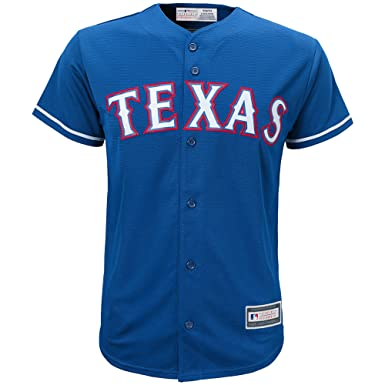 d1bfcb7d1 Outerstuff Texas Rangers Word Mark Blue Youth Cool Base Alternate Replica  Jersey (Small 8)