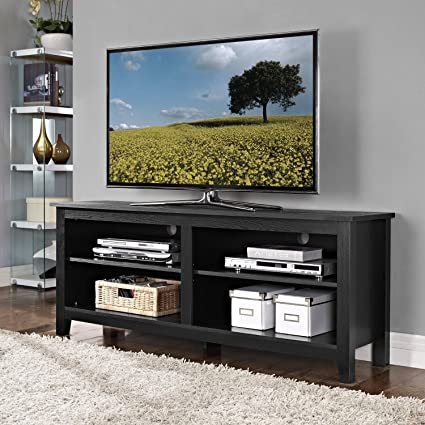 best service cc7d5 e5971 Amazon.com: TV Stand Black for Flat Screens 60 Inch Low ...