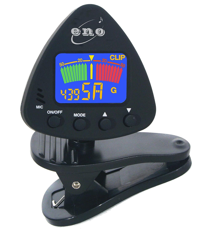 ENO 020537 Trompette chromatique de guitare, de basse, d'ukulélé et de violon avec écran LCD et comprend une batterie Technote Tuner Accordeur pour guitare