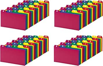 Oxford Poly Index Card Guide Set, 3 x 5 Inches, A-Z, 1/5 Inch Cut Tabs, Assorted Colors, 25 per Set, Sold as 4 Pack (73153)