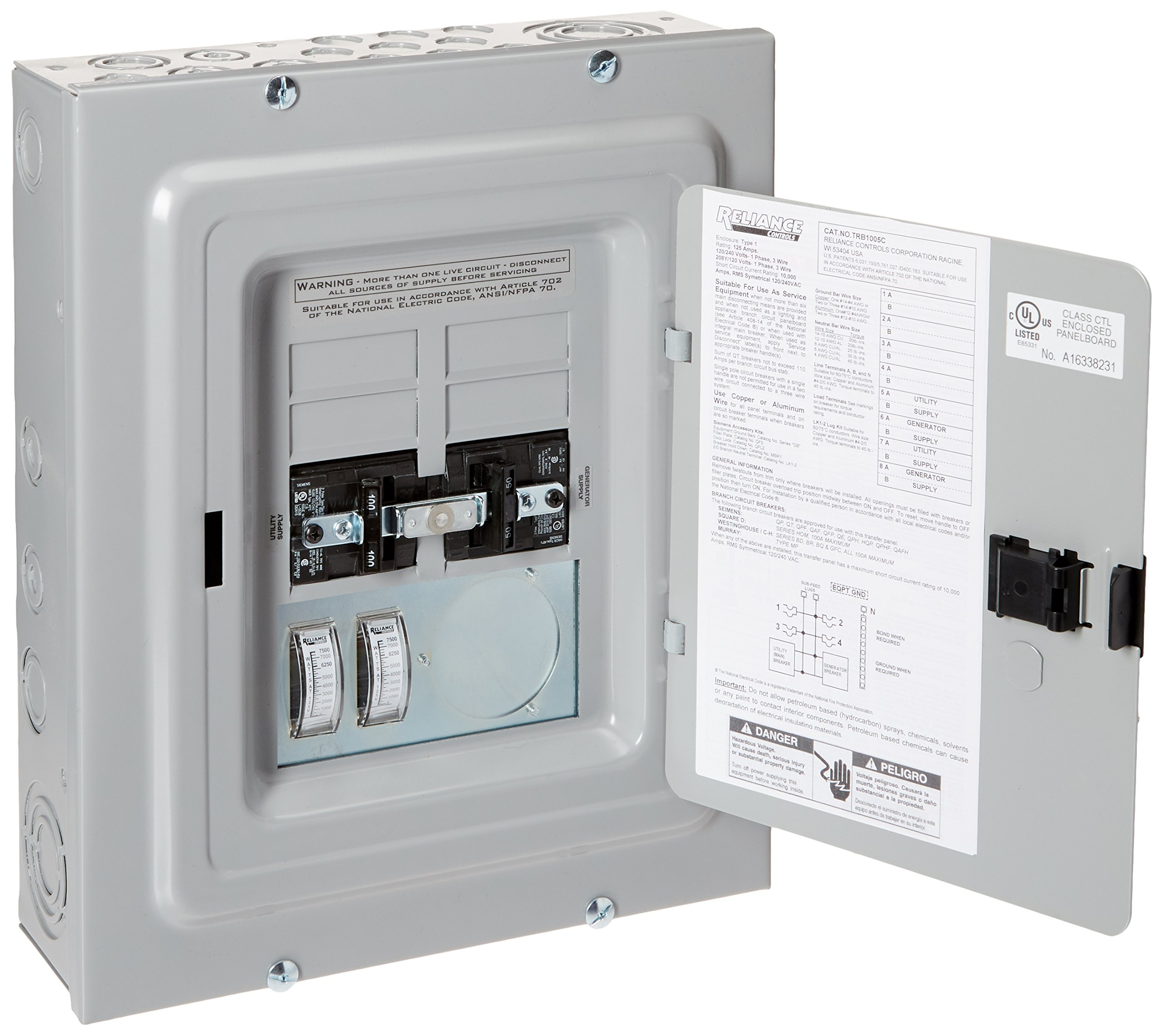 Reliance Controls Corporation TRB1005C Transfer Panel with Meters, 50-Amp