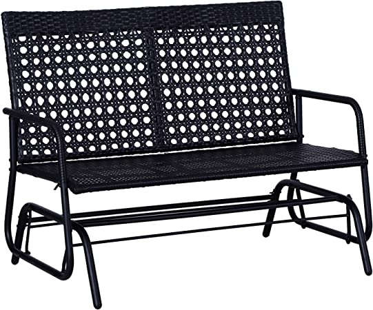 Outsunny Outdoor Rattan Wicker Glider Rocking Chair with Ergonomic Design, 2 Person Loveseat for Patio, Garden, Porch, Lawn