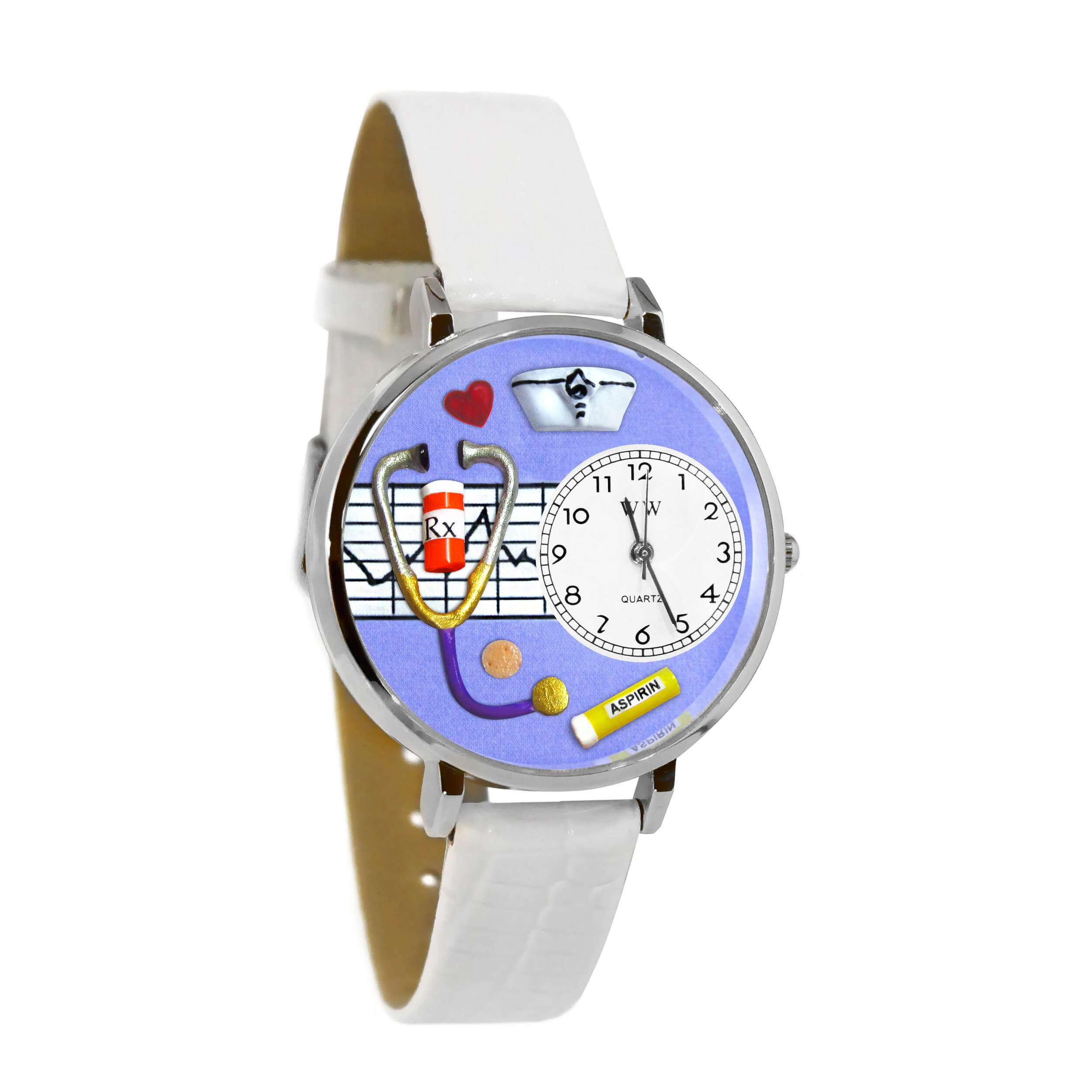 Whimsical Watches Women's U0620042 Unisex Silver Nurse Purple White Skin Leather And Silvertone Watch