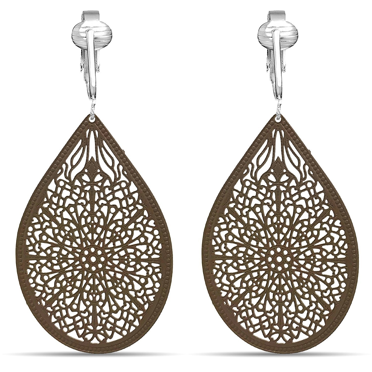 Lovely Victorian Filigree Clip On Earrings for Women & Girls Clip-ons, Lightweight Teardrop Leaf Dangle Clip Earring Shop 0H5044