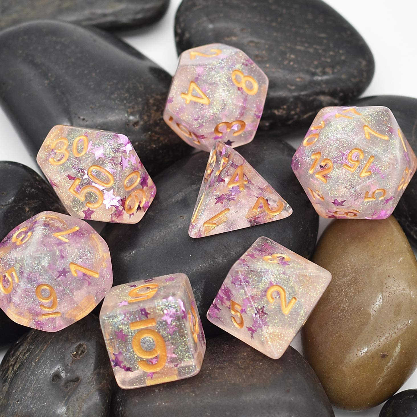 Pink Stars cusdie Pink Stars Dice Polyhedral Dice DND Dice Sets for Dungeons and Dragons with Dice Pouch