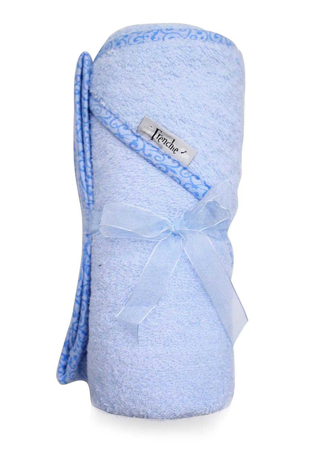 Extra Large 40x30 Absorbent Hooded Towel, Solid Blue with Swirl Print, Frenchie Mini Couture Healthcenter 216