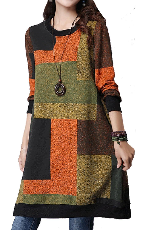 Ammy Fashion Women's Oversized Checkered Long sleeves Knitting Jumper Dress