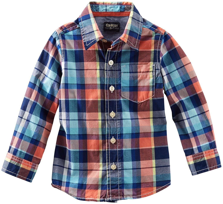 Toddler//Kid OshKosh Bgosh Little Boys Plaid Button Down Shirt Red//Blue