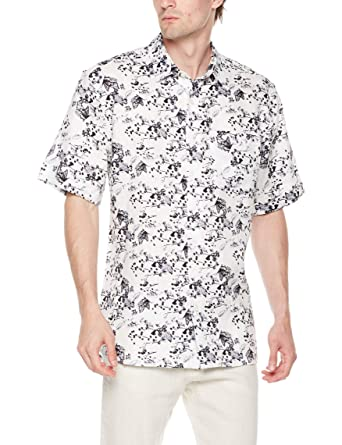 42c6c508 Amazon.com: Isle Bay Linens Men's Standard Fit 100% Linen Floral Tropical  Hawaiian Short Sleeve Casual Shirt: Clothing