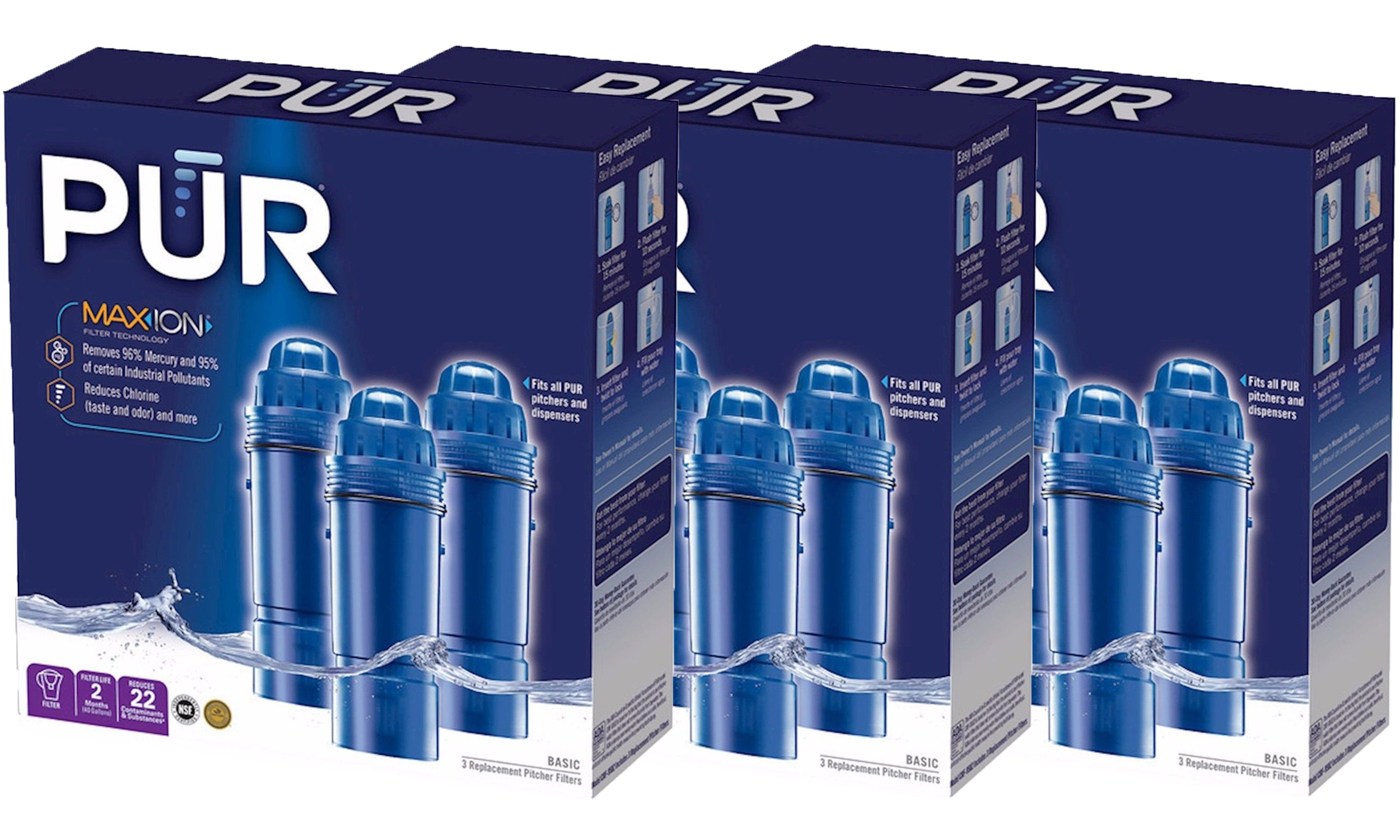 PUR Water Filters Provide Up to 120 Gallons of Clean Water CRF-950Z-3 | Fits Any Pitcher Replacement or Dispensers (PACK OF 9) by PUR