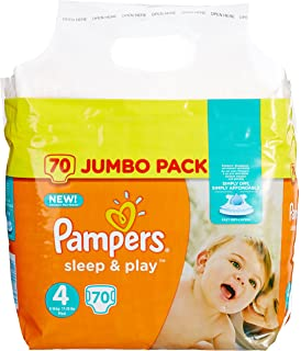 Pampers Sleep e Play - Pack 70 pañales, 8-16 kg, talla 4