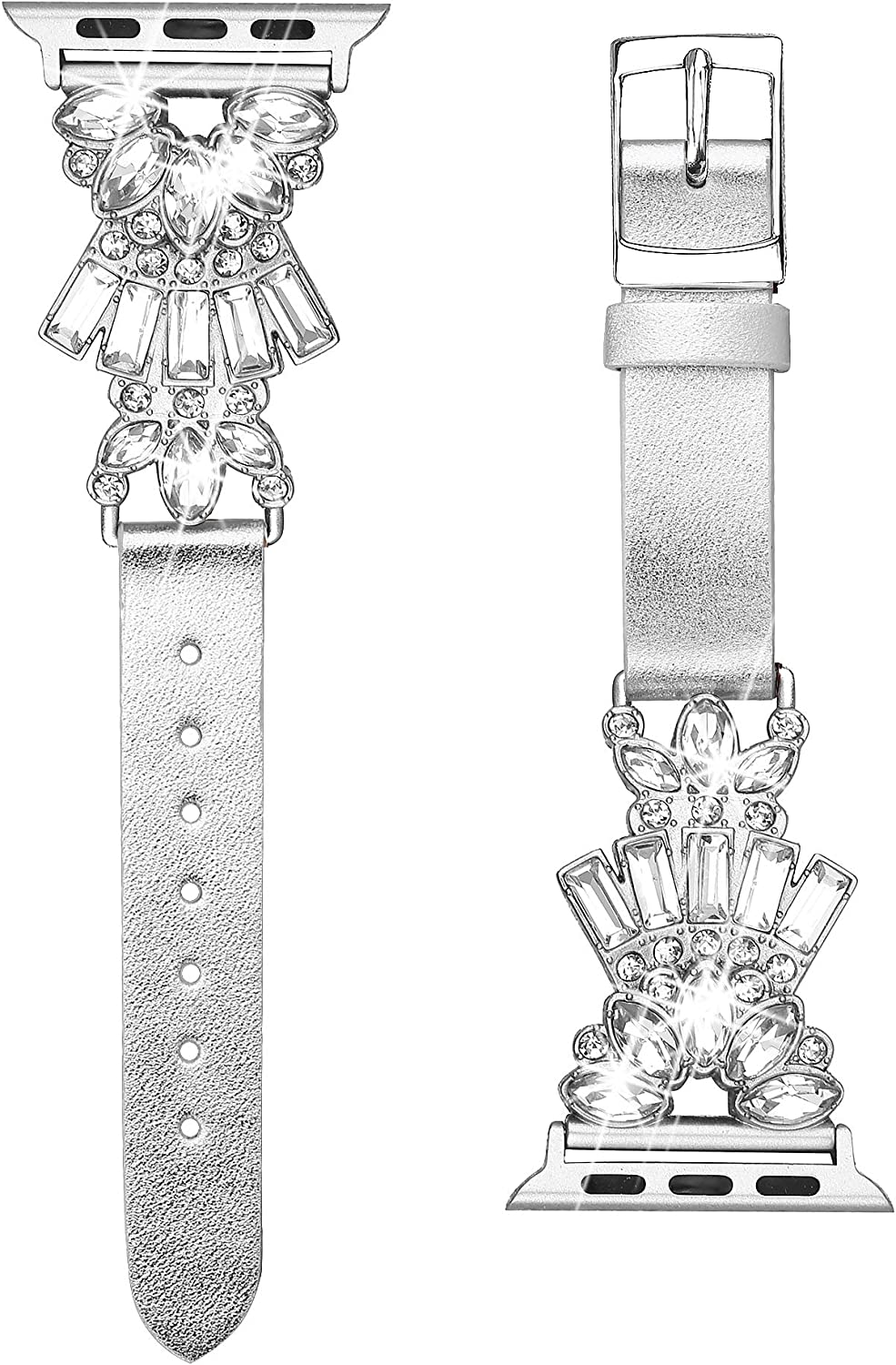 Secbolt Band Compatible with Apple Watch Band 38mm 40mm iWatch Series 6/5/4/3/2/1 SE, Top Grain Leather with Bling Crystal Diamonds Wristband Strap Accessories Women, Silver Large