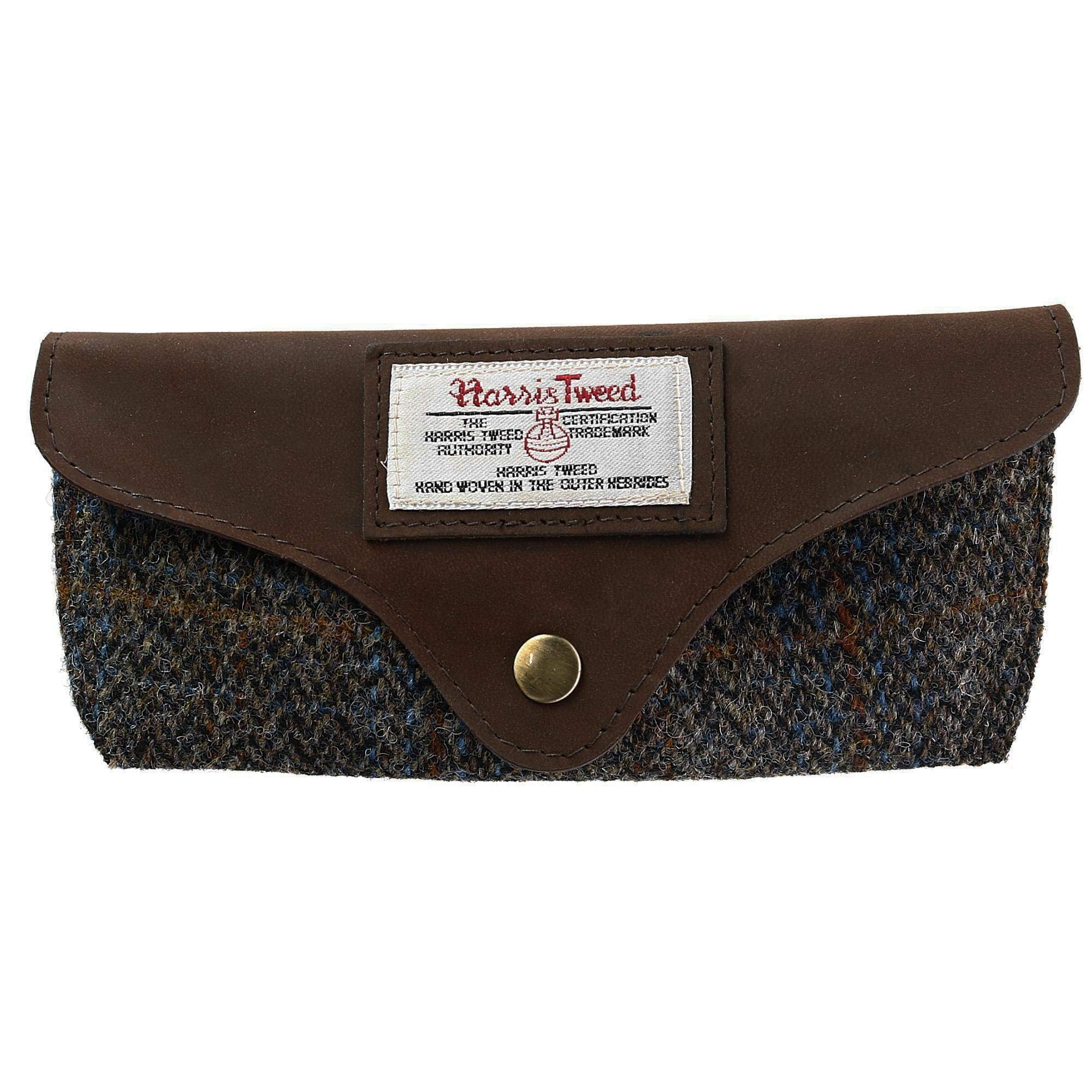 The British Bag Company Carloway Swoop Harris Tweed and Leather Glasses Case, Brown by The British Bag Company